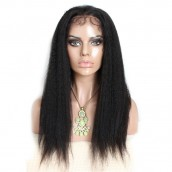 Kinky Straight Brazilian Virgin Hair Full Lace Wig Pre Plucked Wig