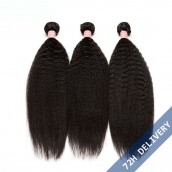 Natural Color Kinky Straight Brazilian Virgin Human Hair Extensions Weave 3 Bundles
