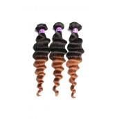 Ombre Hair Weave Color 1b/#30 Loose Wave Virgin Human Hair 3 Bundles