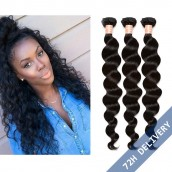 Natural Color Loose Wave Hair Extensions Brazilian Virgin Human Hair Weave 3 Bundles
