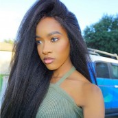 130% Density Light Yaki Brazilian Virgin Hair Lace Front Human Hair Wigs